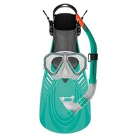 Mirage Caribbean Adult Silitex Mask, Snorkel & Fins Set Green