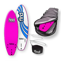 "FIND 5'6"" Tuffrap Thruster Pink Soft Surfboard Softboard + Cover + Leash Package"
