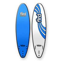 FIND 7'0' TuffPro Soft Surfboard Thruster BLUE EVA RAILS - 3 FCS StyleFin