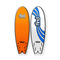 FIND 5'10'' TuffPro Soft Surfboard Quadfish ORANGE EVA RAILS - 4 FCS Style Fin