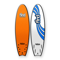 FIND 6'6'' TuffPro Soft Surfboard Quadfish ORANGE EVA RAILS - 4 FCS StyleFin