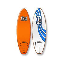 FIND 5'6'' Tuffrap Soft Surfboard Thruster NEON ORANGE - 3 Fin
