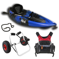 FIND Stealth 2.7 Single Fishing Kayak Package Blue Including PDF Adult and Kayak Trolley
