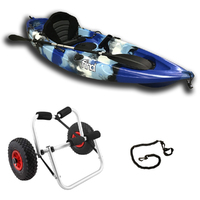 FIND Stealth 2.7 Single Fishing Kayak Package Sky Blue Including Kayak Trolley