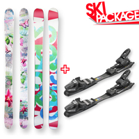 Spice Snow Skis Sherbet Flower Camber Sidewall 135cm with Binding Package