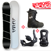 Aria Dropout White Camber Capped Snowboard Package with Bindings & Boots