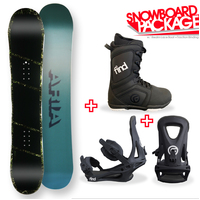 Aria Dropout Green/Camo Camber Capped Snowboard Package with Bindings & Boots