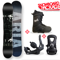 Aria Draw Liner Grey Camber Capped Snowboard Package with Bindings & Boots