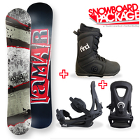Lamar Trooper Wide Flat Capped Snowboard Package with Bindings & Boots