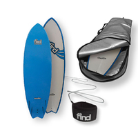 "FIND 6'0"" Quadfish Duralite Surfboard + Cover + Leash Package"