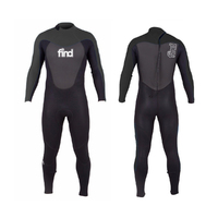 FIND Men's 3mm/2mm Flatlock Steamer Long Sleeve & Leg Neoprene Wetsuit with Knee Pads - Black