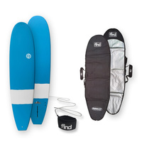 FIND™ Mini Mal Duralite Blue Surfboard + Cover + Leash Package
