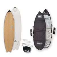 FIND™ Quadfish Ecoflex Bamboo Surfboard + Cover + Leash Package