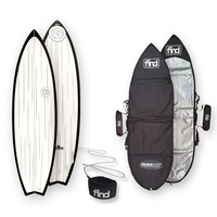 FIND™ Speedsta Polytec Black Streaked Surfboard + Cover + Leash Package