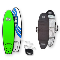 FIND™ TuffPro Quadfish Soft Surfboard Green + Cover + Leash Package