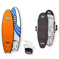 FIND™ TuffPro Quadfish Soft Surfboard Orange + Cover + Leash Package