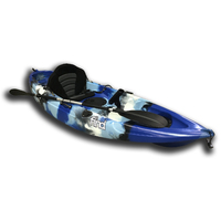 FIND Stealth 2.7 Fishing Kayak Sky Blue Camo Single 5 Rod Holders Deluxe Seat Paddle