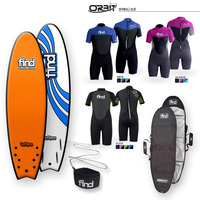 FIND TuffPro Soft Surfboard Quadfish ORANGE EVA RAILS - 4 FCS Style Fin + Cover + Leash + Orbit Spring wetsuit