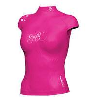 Crystal Ladies Lycra Rash Cap Sleeve Shirt Hot Pink