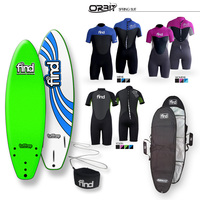 FIND Tuffrap Soft Surfboard Thruster NEON GREEN - 3 Fin + Cover + Leash + Orbit Spring wetsuit