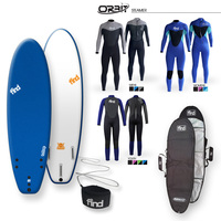 FIND 2021 Tuffrap Surfboard - Royal Blue + Cover + Leash + Orbit Steamer wetsuit